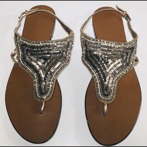 Zingara - Silver Sequence Sandals